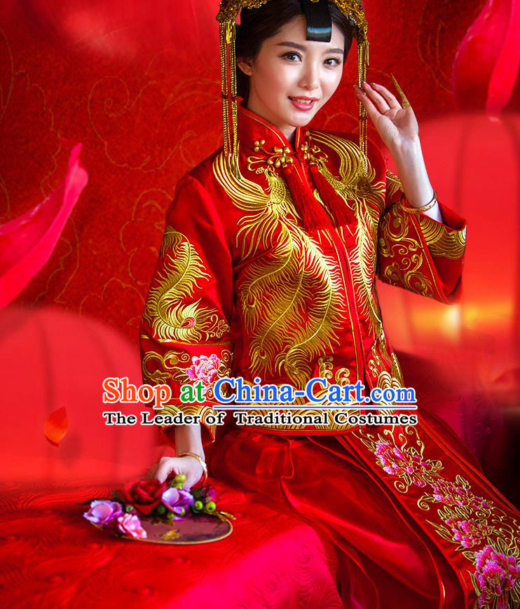 Traditional Chinese Wedding Costume Xiuhe Wedding Red Clothing Longfeng Flown, Ancient Chinese Bride Toast Embroidered Dragon and Phoenix Dress for Women
