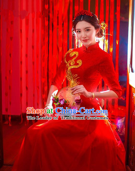 Traditional Chinese Wedding Costume Xiuhe Wedding Red Clothing Longfeng Flown, Ancient Chinese Bride Toast Embroidered Dragon and Phoenix Lace Cheongsam Dress for Women