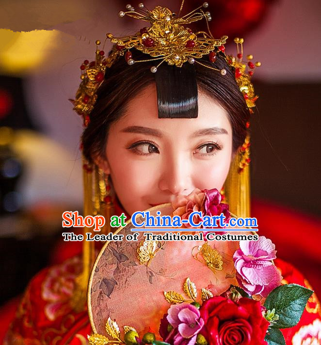 Traditional Chinese Wedding Xiuhe Suit Hair Accessories, Cnina Style Hanfu Phoenix Crown Tassel Step Shake, Ancient Chinese Bride Hairpins Headwear for Women