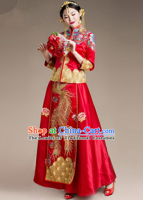 Traditional Chinese Wedding Costume Xiuhe Suit Clothing, Ancient Chinese Bride Embroidered Dragon and Phoenix Robes Cheongsam Dress for Women