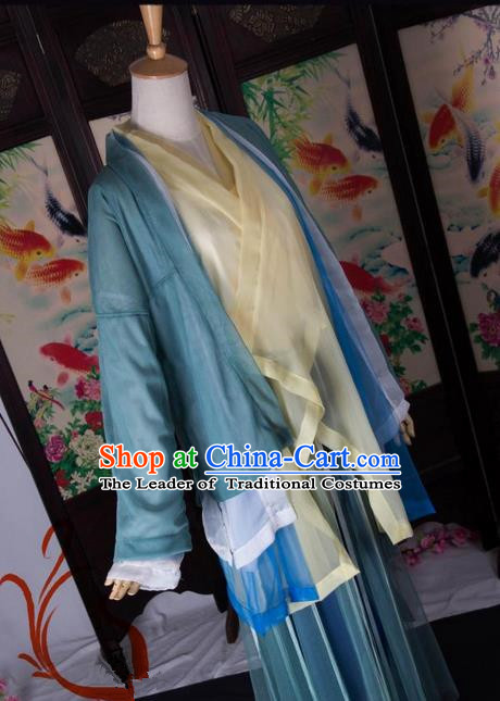 Traditional Chinese Young Lady Costume, Elegant Hanfu Cosplay Clothing Ancient Chinese Dress for Women