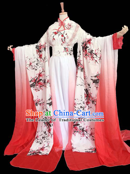 Traditional Chinese Cosplay Imperial Consort Costume, Chinese Ancient Printing Plum Blossom Hanfu Han Dynasty Princess Dress Clothing for Women