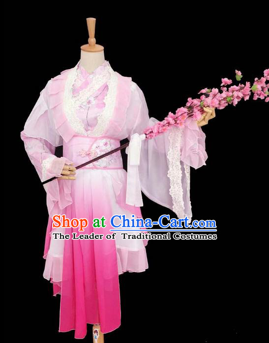 Traditional Chinese Cosplay Palace Lady Dance Fairy Costume, Chinese Ancient Ink Painting Plum Blossom Hanfu Tang Dynasty Princess Pink Dress Clothing for Women