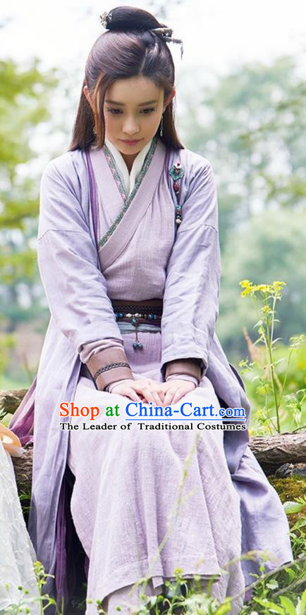 Traditional Ancient Chinese Young Lady Costume and Headwear Complete Set, The Legend of the Condor Heroes Chinese Song Dynasty Swordswoman Hanfu Dress Clothing for Women