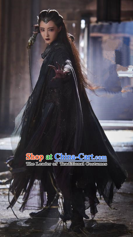 Traditional Ancient Chinese Evil Female Costume and Headwear Complete Set, The Legend of the Condor Heroes Chinese Song Dynasty Mei Chaofeng Hanfu Dress Swordswoman Clothing for Women