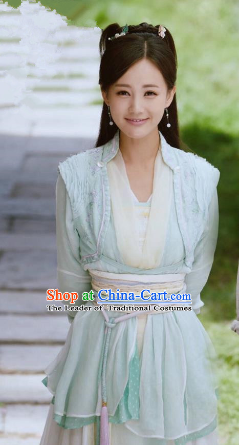 Traditional Ancient Chinese Female Costume and Headwear Complete Set, The Legend of the Condor Heroes Chinese Song Dynasty Young Lady Hanfu Dress Swordswoman Clothing for Women