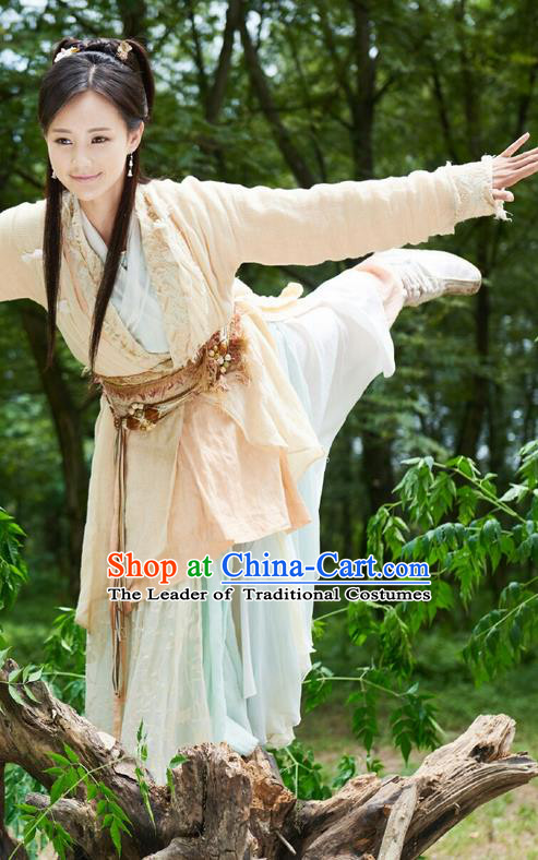 Traditional Ancient Chinese Swordswoman Costume, The Legend of the Condor Heroes Chinese Song Dynasty Heroine Young Lady Hanfu Dress Clothing for Women