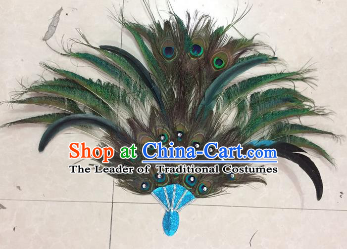 Top Grade Stage Show Catwalks Crafts Dance Fan, Brazilian Rio Carnival Samba Opening Dance Modern Fancywork Peacock Feather Fans
