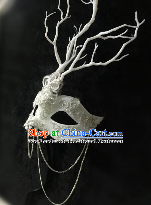 Top Grade Chinese Theatrical Luxury Headdress Ornamental White Lace Mask, Halloween Fancy Ball Ceremonial Occasions Handmade Branch Face Mask for Women