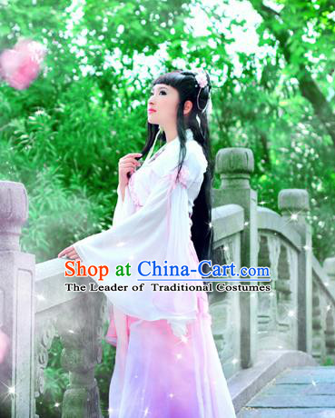 Traditional Ancient Chinese Young Lady Pink Costume, Chinese Tang Dynasty Princess Dress Clothing for Women