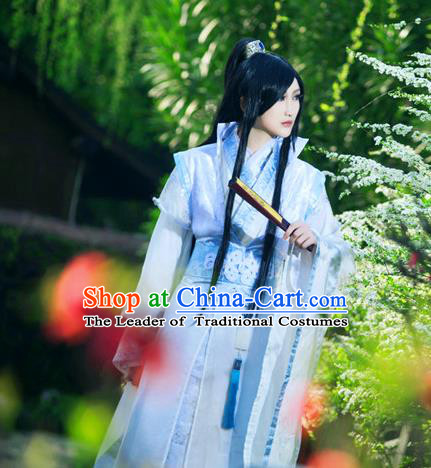 Traditional Ancient Chinese Nobility Childe Blue Costume, Chinese Han Dynasty Noble Prince Robes Hanfu Clothing for Men
