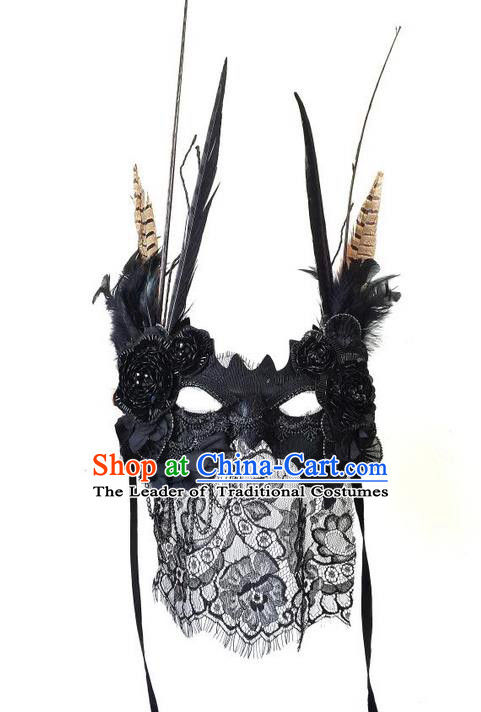 Top Grade Chinese Theatrical Headdress Ornamental Lace Veil Mask, Brazilian Carnival Halloween Occasions Handmade Miami Debutante Black Mask for Women