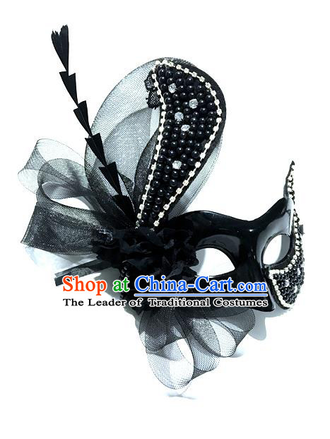 Top Grade Chinese Theatrical Headdress Ornamental Masquerade Black Mask, Brazilian Carnival Halloween Occasions Handmade Miami Debutante Feather Mask for Women