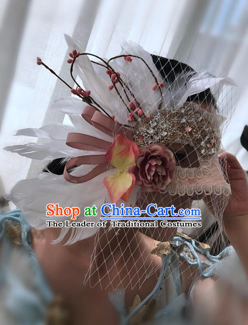 Top Grade Chinese Theatrical Headdress Ornamental Masquerade White Feather Mask, Brazilian Carnival Halloween Occasions Handmade Miami Veil Mask for Women