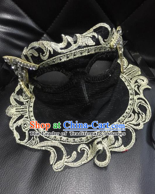 Top Grade Chinese Theatrical Headdress Ornamental Masquerade Black Cat Mask, Brazilian Carnival Halloween Occasions Handmade Miami Lace Veil Mask for Women