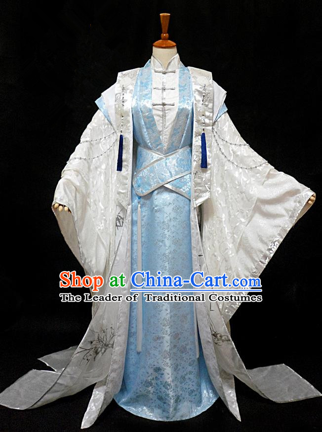 Traditional Ancient Chinese Nobility Childe Costume Complete Set, Chinese Han Dynasty Royal Highness Robes Hanfu Clothing for Men
