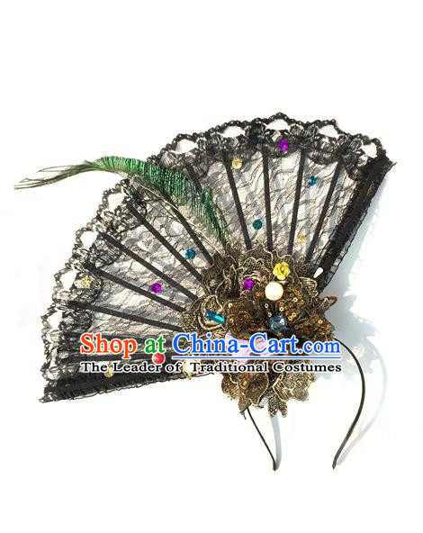 Top Grade Miami Deluxe Asian Chinese Fan Lace Hair Accessories, Halloween Brazilian Carnival Occasions Handmade Hair Clasp Headwear for Women