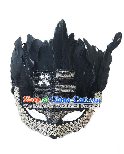 Top Grade Asian Headpiece Headdress Ornamental Cat Crystal Mask, Brazilian Carnival Halloween Occasions Handmade Miami Black Feather Mask for Women