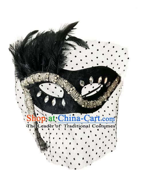 Top Grade Asian Headpiece Headdress Ornamental Cosplay Black Veil Crystal Mask, Brazilian Carnival Halloween Occasions Handmade Miami Vintage Mask for Women