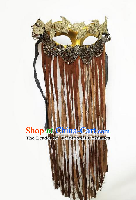 Top Grade Asian Headpiece Headdress Ornamental Cosplay Golden Mask, Brazilian Carnival Halloween Occasions Handmade Miami Vintage Brown Tassel Mask for Women