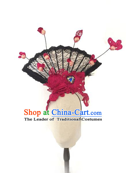 Top Grade Asian China Fan Hair Accessories, Traditional China Manchu Princess Flowers Floral Headdress Occasions Handmade Rosy Lace Headwear for Women