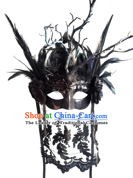 Top Grade Miami Deluxe Black Branch Crystal Mask, Halloween Headdress Brazilian Carnival Occasions Handmade Feather Face Mask for Women