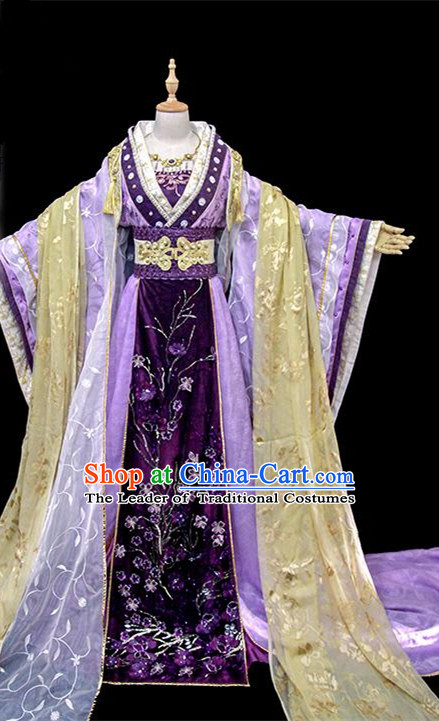 Traditional Ancient Chinese Imperial Concubine Fairy Embroidered Costume, Chinese Tang Dynasty Princess Consort Purple Dress Hanfu Clothing for Women