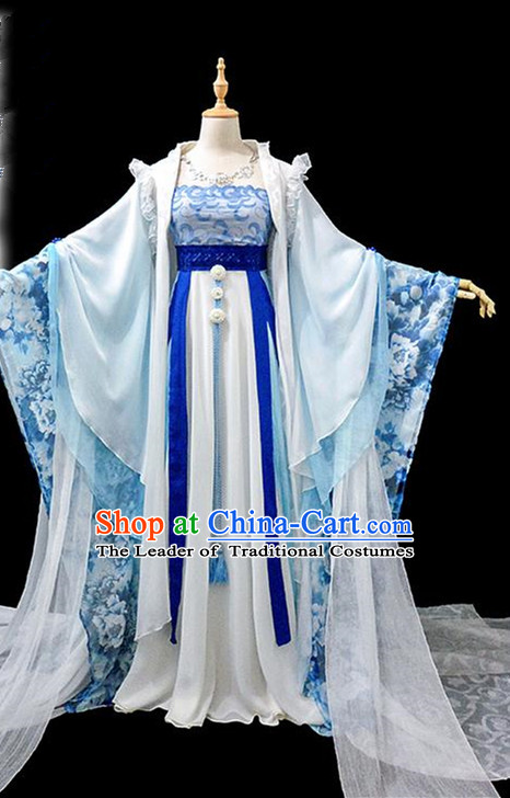 Traditional Ancient Chinese Imperial Concubine Fairy Embroidered Costume, Chinese Tang Dynasty Princess Blue Dress Hanfu Clothing for Women