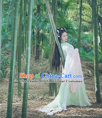 Traditional Ancient Chinese Imperial Concubine Embroidered Fairy Costume, Chinese Tang Dynasty Princess Green Dress Hanfu Clothing for Women