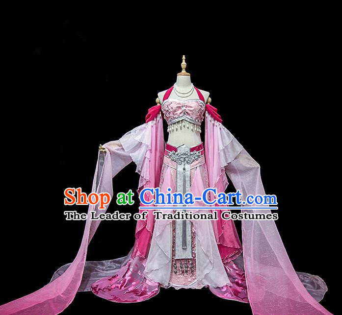 Traditional Ancient Chinese Palace Lady Embroidered Dance Costume, Chinese Tang Dynasty Princess Pink Water Sleeve Dress Hanfu Clothing for Women