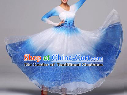 Chinese Classic Stage Performance Dance Costumes, Opening Dance Competition Blue Dress, Folk Dance Classic Big Swing Clothing for Women