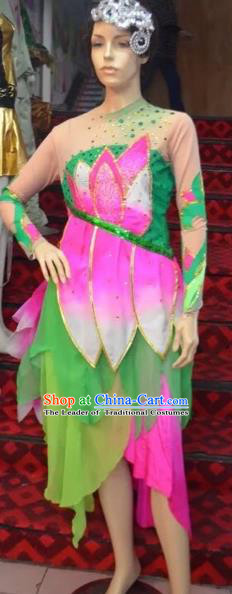 Traditional Chinese Classical Dance Fan Dance Costume, Folk Dance Lotus Dance Blue Uniform for Women