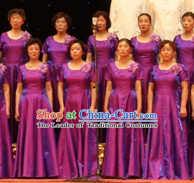 Chinese Classic Stage Performance Dance Costumes, Opening Dance Chorus Classic Purple Dress for Women