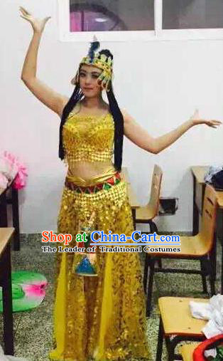 Traditional Indian Classical Dance Costume, India Belly Dance Golden Dress for Women