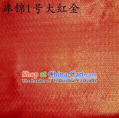 Asian Chinese Traditional Jacquard Weave Red Golden Xiuhe Suit Satin Silk Fabric, Top Grade Brocade Tang Suit Hanfu Dress Fabric Cheongsam Cloth Material