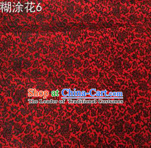 Asian Chinese Traditional Embroidering Flower Red Xiuhe Suit Satin Thangka Silk Fabric, Top Grade Brocade Tang Suit Hanfu Dress Fabric Cheongsam Cloth Material