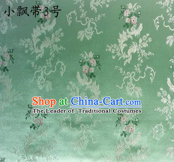 Asian Chinese Traditional Embroidering Flowers Xiuhe Suit Satin Green Silk Fabric, Top Grade Brocade Tang Suit Hanfu Full Dress Fabric Cheongsam Cloth Material