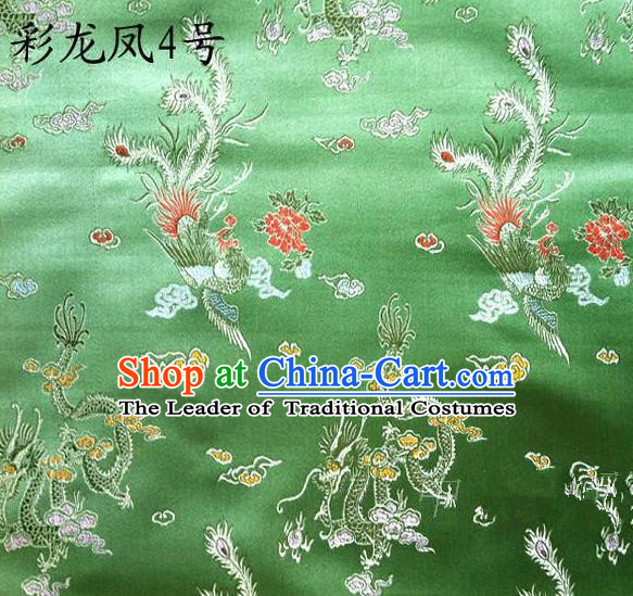 Asian Chinese Traditional Embroidery Colorful Dragon and Phoenix Bringing Prosperity Green Satin Silk Fabric, Top Grade Tibetan Brocade Tang Suit Hanfu Fabric Cheongsam Cloth Material