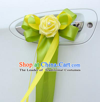 Top Grade Wedding Accessories Decoration, China Style Wedding Limousine Bowknot Yellow Flowers Bride Ribbon Garlands