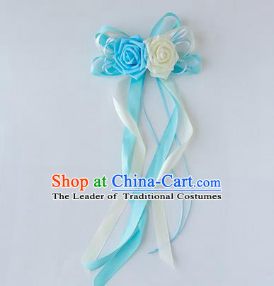 Top Grade Wedding Accessories Decoration, China Style Wedding Limousine Satin Bowknot Blue Flowers Bride Long Ribbon Garlands