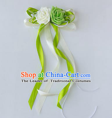 Top Grade Wedding Accessories Decoration, China Style Wedding Limousine Satin Bowknot Green Flowers Bride Long Ribbon Garlands