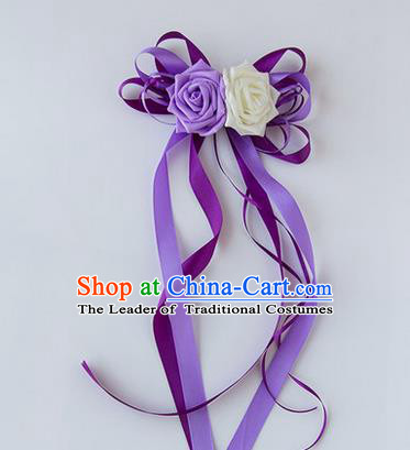 Top Grade Wedding Accessories Decoration, China Style Wedding Limousine Satin Bowknot Purple Flowers Bride Long Ribbon Garlands