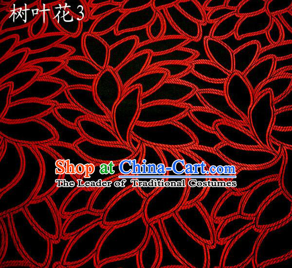 Asian Chinese Traditional Handmade Embroidery Leaf Pattern Satin Wedding Silk Fabric, Top Grade Nanjing Brocade Tang Suit Hanfu Fabric Cheongsam Black Cloth Material