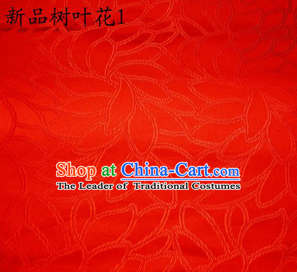 Asian Chinese Traditional Handmade Embroidery Red Leaf Pattern Satin Wedding Silk Fabric, Top Grade Nanjing Brocade Tang Suit Hanfu Fabric Cheongsam Red Cloth Material