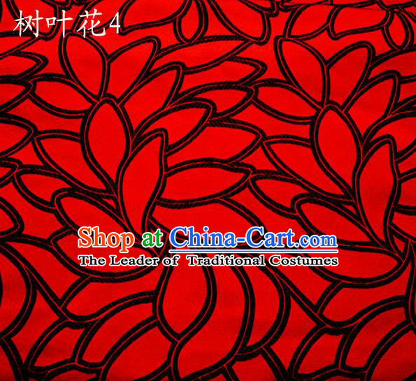 Asian Chinese Traditional Handmade Embroidery Black Leaf Pattern Satin Wedding Silk Fabric, Top Grade Nanjing Brocade Tang Suit Hanfu Fabric Cheongsam Red Cloth Material