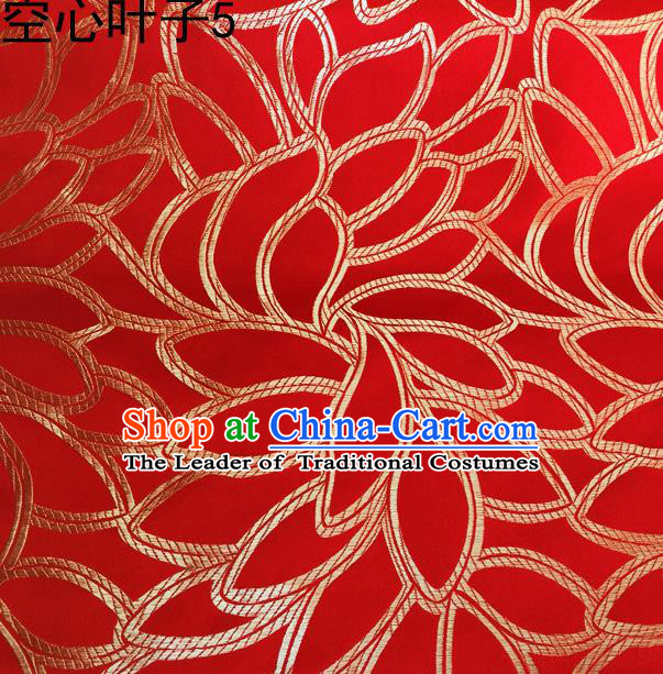 Asian Chinese Traditional Handmade Embroidery Golden Leaf Pattern Satin Wedding Silk Fabric, Top Grade Nanjing Brocade Tang Suit Hanfu Fabric Cheongsam Red Cloth Material