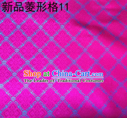 Asian Chinese Traditional Handmade Embroidery Rhombus Pattern Satin Silk Fabric, Top Grade Nanjing Brocade Tang Suit Hanfu Fabric Cheongsam Rosy Cloth Material