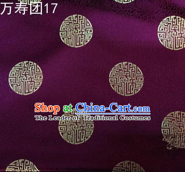 Traditional Asian Chinese Handmade Embroidery Manju Pattern Satin Tang Suit Purple Silk Fabric, Top Grade Nanjing Brocade Ancient Costume Hanfu Clothing Fabric Cheongsam Cloth Material