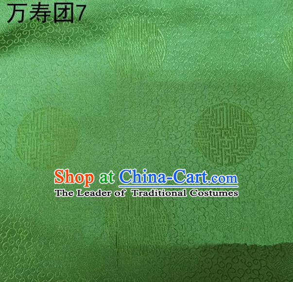 Traditional Asian Chinese Handmade Embroidery Manju Pattern Satin Tang Suit Green Silk Fabric, Top Grade Nanjing Brocade Ancient Costume Hanfu Clothing Fabric Cheongsam Cloth Material