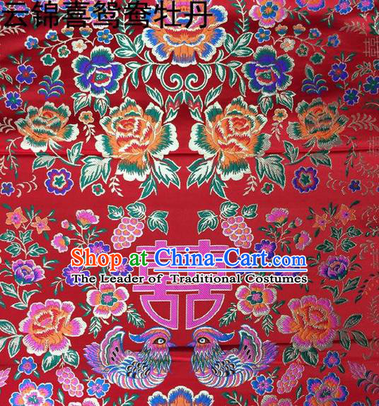 Traditional Asian Chinese Handmade Embroidery Peony Mandarin Duck Satin Tang Suit Red Fabric, Nanjing Brocade Ancient Costume Hanfu Xiuhe Suit Cheongsam Cloth Material